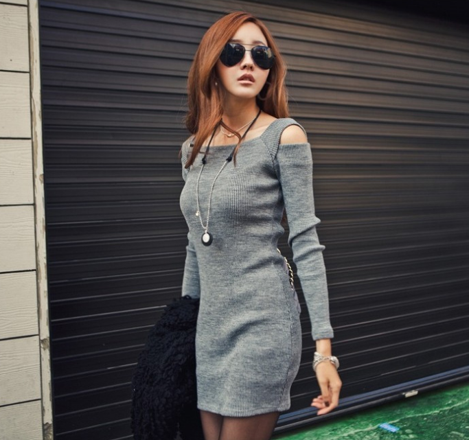 Sexy Slim Fit Package Hip Long-sleeved Dress