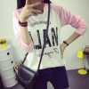 Knitted Cotton Stitching Printed Long-sleeved T-shirt