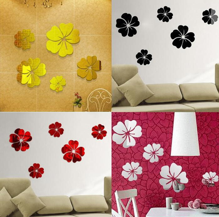 3D Five Flower Crystal Mirror Wall Stickers Home Decoration