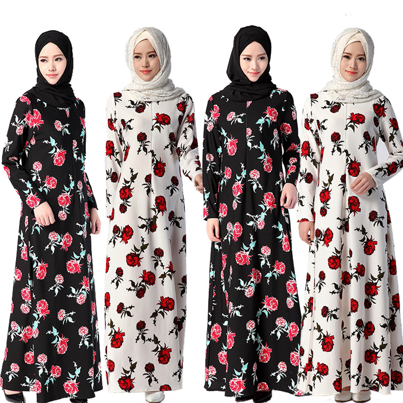Muslim Women's Floral Jubah Baju Kurung Dress