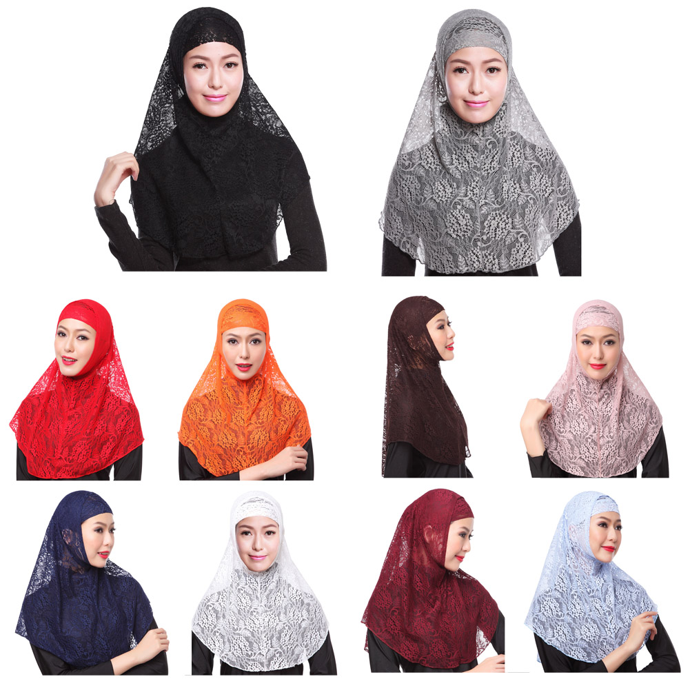 Muslim Double Layer Lace Hijab Tudung