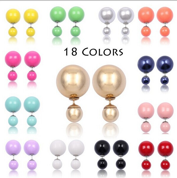 Sided Spherical Candy Colors Pearl Earrings