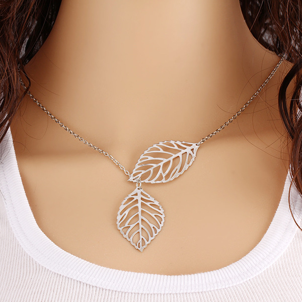 European Double Leaf Clavicle Chain Necklace