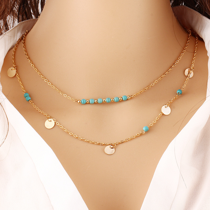 European Turquoise Sequins Double Necklace