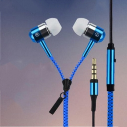 Fashionable Colorful Ergonomic Design Variable Zipper Earphone Headphone With Microphone