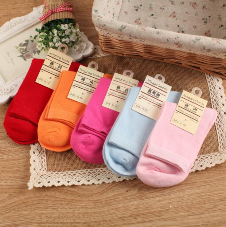 Korea Cute Solid Candy-Colored Female Cotton Socks