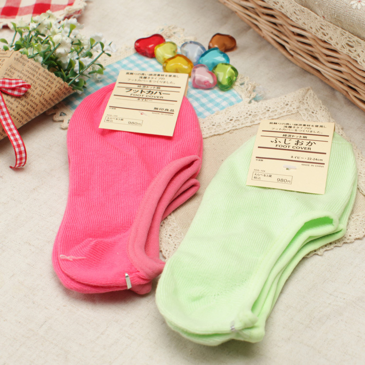 Candy-Colored Female Invisible Socks