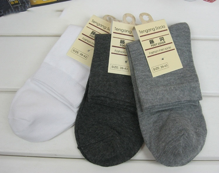 Thin Solid Color Cotton Men's Socks