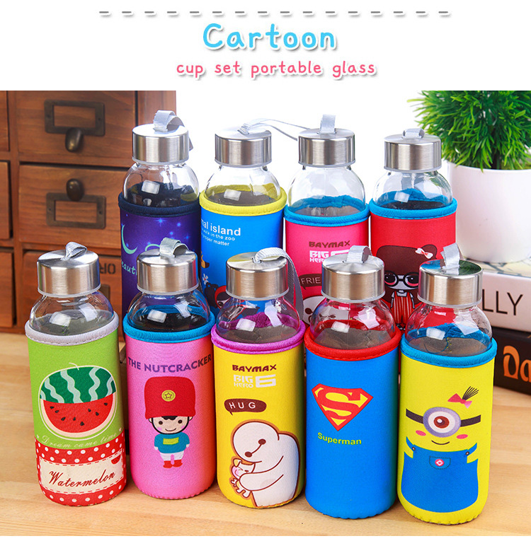 Cartoon Portable Glass Cup Bottle