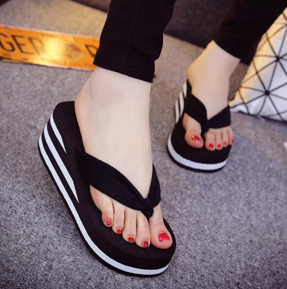 High-Heeled Color Clip Towel Female Sandals