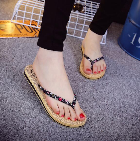Slip Resistance Lady Fashion Wood Grain Rubber-Soled Sandals