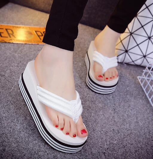 Fashion High-Heeled Clip Ribbon Colorful Muffin Sandals