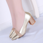 Ladies Sequins Thick Heel Pointed Shoes
