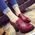 Women's Thick Round High-heels Shoes
