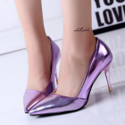 Korean Sexy Patent Leather Pointed Thin Heels Shoes
