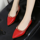 Korean Student Casual Flat Rivet Point Head Shoes