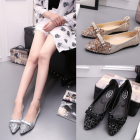Korean Women's Sequins Rhinestones Pointed Bow Flat Shoes
