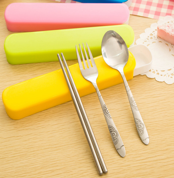 Candy-colored Portable Three-piece Chopsticks Spoon Fork