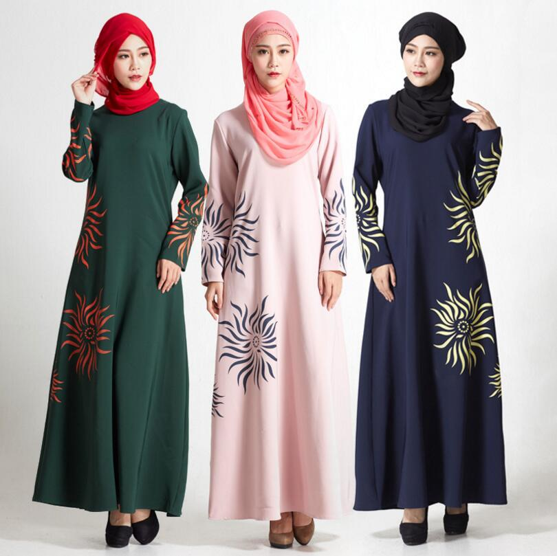 Islamic Muslim Ethnic Sun Printed Worship Dress Jubah Baju Kurung