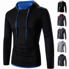 Casual Men's Long-Sleeved Solid Duo Color Hooded T-Shirt