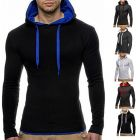 Men's Casual Simple Design Long-Sleeved Hooded T-shirt
