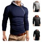 Oblique Zipper Decoration Men's Casual Hooded Long-Sleeved T-Shirt