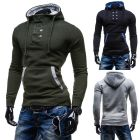 Men's Hooded Double-Breasted Casual Long-Sleeved Sweater