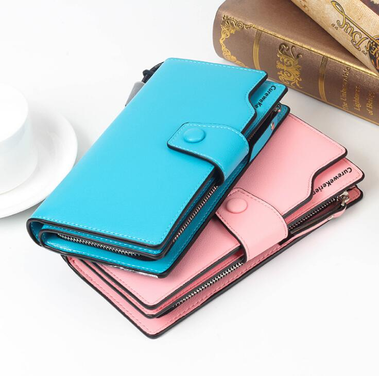 European Fashion Women Button Fasten Portable Long Clutch Purse Wallet