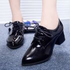 Korean Women's Small Round Patent Leather Shoes