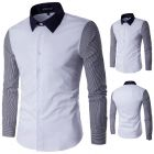 Men's Large Size Striped Stitching Long-sleeved Slim Shirt
