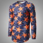 Men's Five-pointed Star Printed Long-sleeved Round T-shirt