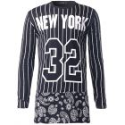 Men's Hip-hop Style Stripes Loose Printed Long-sleeved Round Neck T-shirt