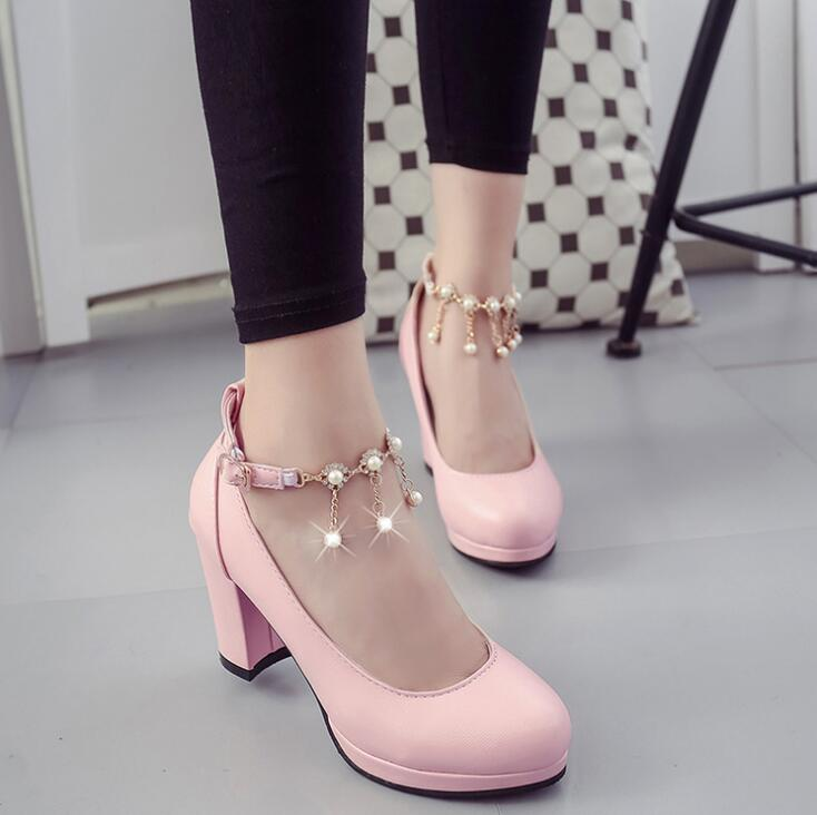 Korean Women Round Head Pearl High Heel Shoes