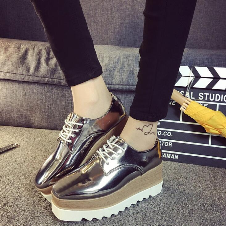 England Fashion Women's Retro Thick Sole Casual Shinny Shoes