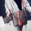 Europe Elegant Classic Five Petals Flower Design Tassel Lady Tote Bag /2pcs per Set