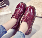 Korean Women's Casual Vintage Patent Leather Flat Shoes