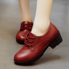 London Style Women's Vintage Fashion Round Head Thick Heel Shoes