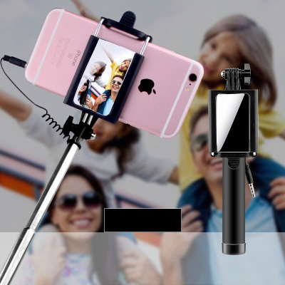 Wired Selfie Stick Mirror Monopod Foldable for APPLE Iphone SAMSUNG Galaxy and etc (Android/IOS)