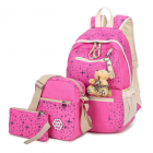 Korean Women's Casual Elegant Shiny Star Printed Composition Backpack /3pcs per Set