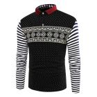 Men's Fashion Polka Dot With Stripes Sleeve Polo T-shirt