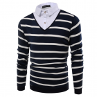 Men's Slim Fit Fake Two Pieces Stripe Long-sleeved Polo T-shirt