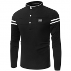 Men's Muscle Fit Fashion Design Style Stand Collar Long-sleeve T-shirt