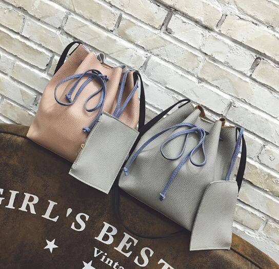 Korean Women's Fashion Classic Casual Stitcing Color Bucket Shoulder Bag /2pcs per Set