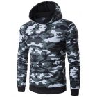 Men's Slim Fit Army Camouflage Designed Hooded Sweater Jacket
