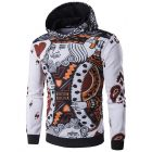Men's 3D Poker Card Paisley Designed Print White Hooded Sweater Jacket