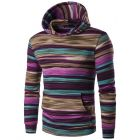 Men's Multi-color Stripes Camouflage Designed Hooded Sweater Jacket