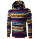 Men's Korean Style Casual Stripe Pattern Designed Hooded Sweater Jacket