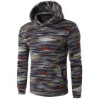 Men's Casual Color Mixed Stripe Pattern Design Hooded Sweater Jacket