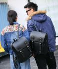 Korean Fashion Unisex Couple Multifunction Black Casual Travel Backpack
