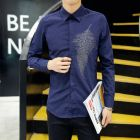 Men's Button-up Hotfix Rhinestone Feather Design Long-sleeve Shirt